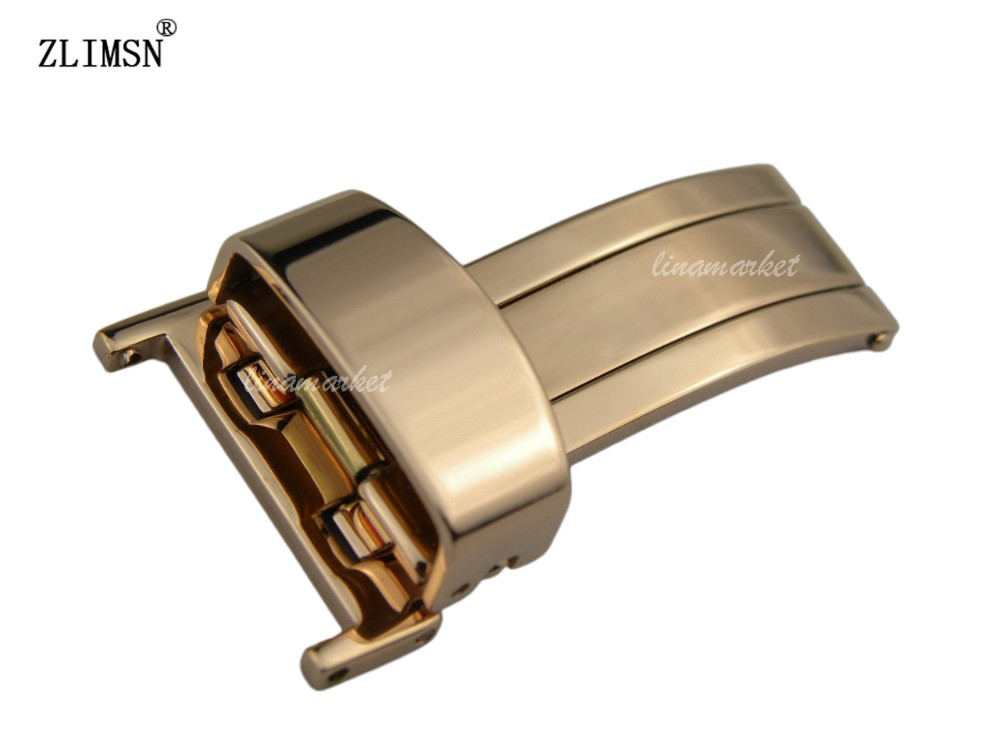 ZLIMSN Watchbands 16mm stainless steel Rose Gold watch band bcukle single open Deployment clasp Watchbands(China (Mainland))