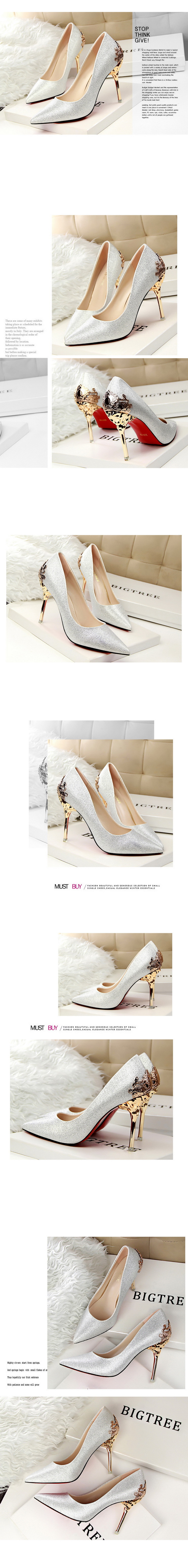 Spring Summer Women High Heels Shoes Pointed Toe Matel Heels Pumps Fashion Sexy Shoes Heeled Carved Metal Office Wedding Shoes
