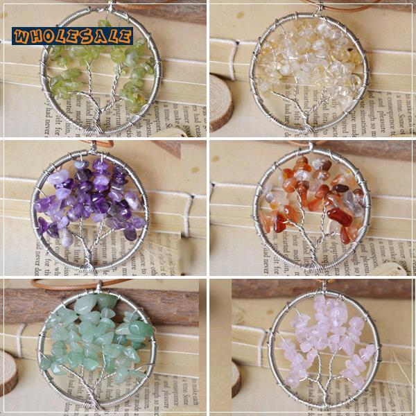 10pcs/Lot Tree Of Life Natural Crystal Pendant Necklace 6 Styles Amethyst Citrine Agate Peridot Rose Quartz Natural Stone 21068(China (Mainland))