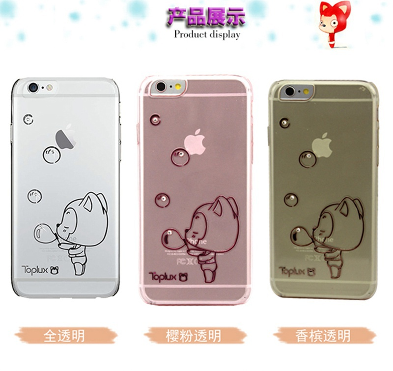 Original Ali Fox Ultra Thin Soft TPU Lovely Transparent Case Cartoon Cute Girl's Case Mobile Phone Cases for iPhone 6 4.7 inch(China (Mainland))