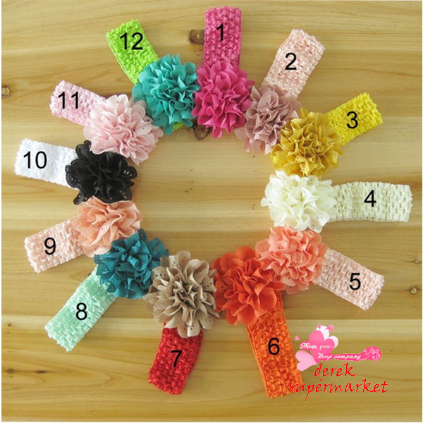 Hot sale Baby accessories ! Crochet Headbands + Rose Daisy Flowers  Baby Hair bows,Head bows,Girls Head Accessories