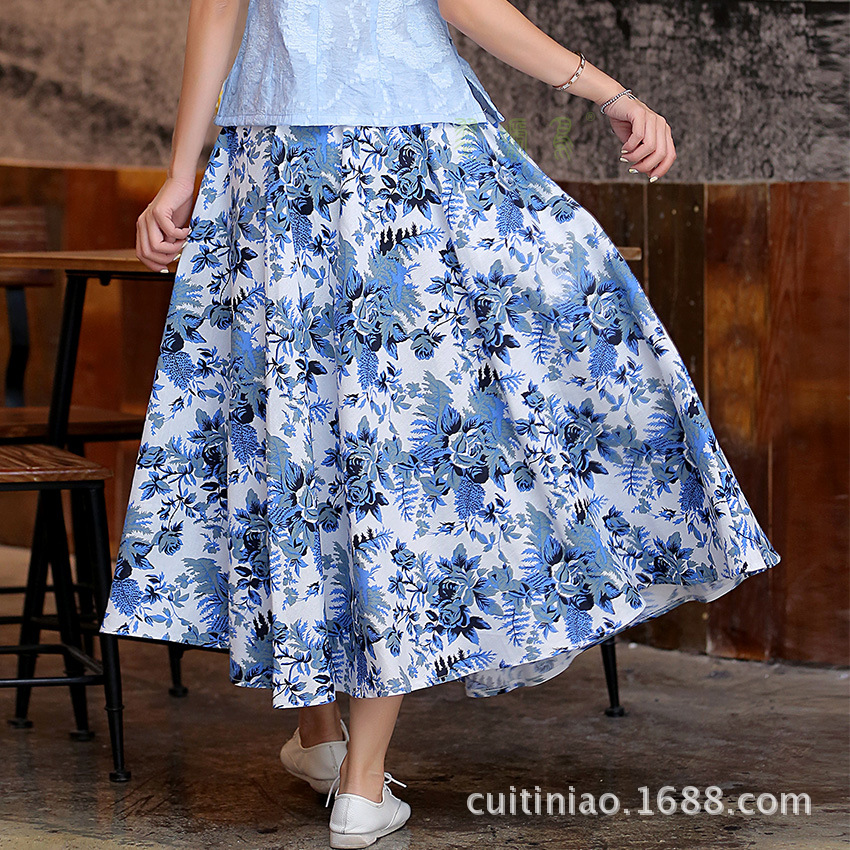 Blue Rose big skirt Women Long skirt linen cotton Lady skirt(China (Mainland))