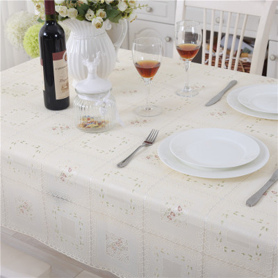 Mutil Size European rural style Beige Color PVC table cloth waterproof & oilproof plastic table cloth printed tablecloth(China (Mainland))