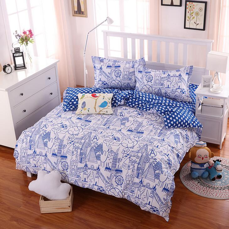 4Pcs Boy Girls AB Side Bedding Set Queen Size Geometry Striped Printed Bed Sheet Duvet Cover Pillowcase Bed Linen Bedclothes(China (Mainland))