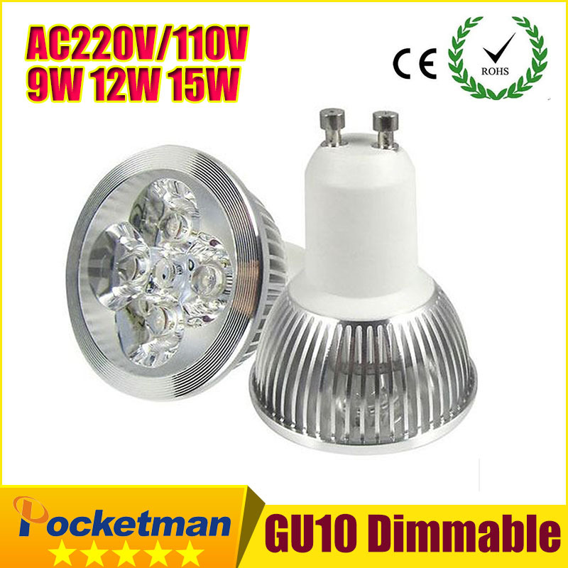 1PCS Ultra Bright dimmable 9w 12W 15w GU10 LED Bulbs Spotlight High Power gu 10 led Lamp Day White LED SPOT Light ZK90(China (Mainland))
