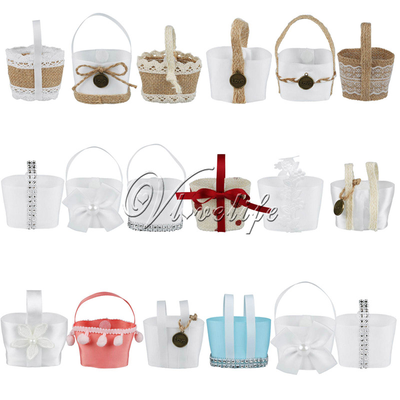 Cute Wedding Candy Basket Mini Hanging Basket Shape Candy Bag For Wedding Event Party Decor Wedding Party Favor Gifts(China (Mainland))