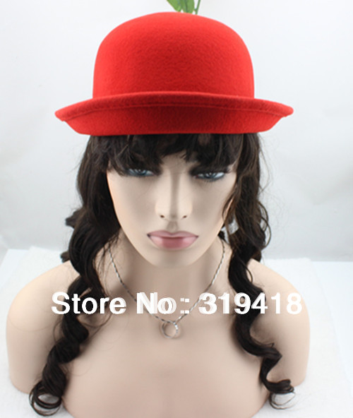Casual Lady women Solid RED Color Hat New Fashion dome wool fedoras woolen roll up hem small round cashmere Berets jazz Gift(China (Mainland))