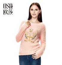 OSA 2014 Winter Women's Long Sleeve Beading Embroidered Pullover Sweater SE406028(China (Mainland))