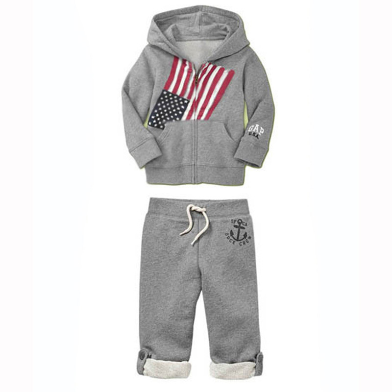 Baby boy clothing set spring 2015 fashion children clothing Letter printing Hoodie + pant gray casual vetement enfant fille bebe(China (Mainland))