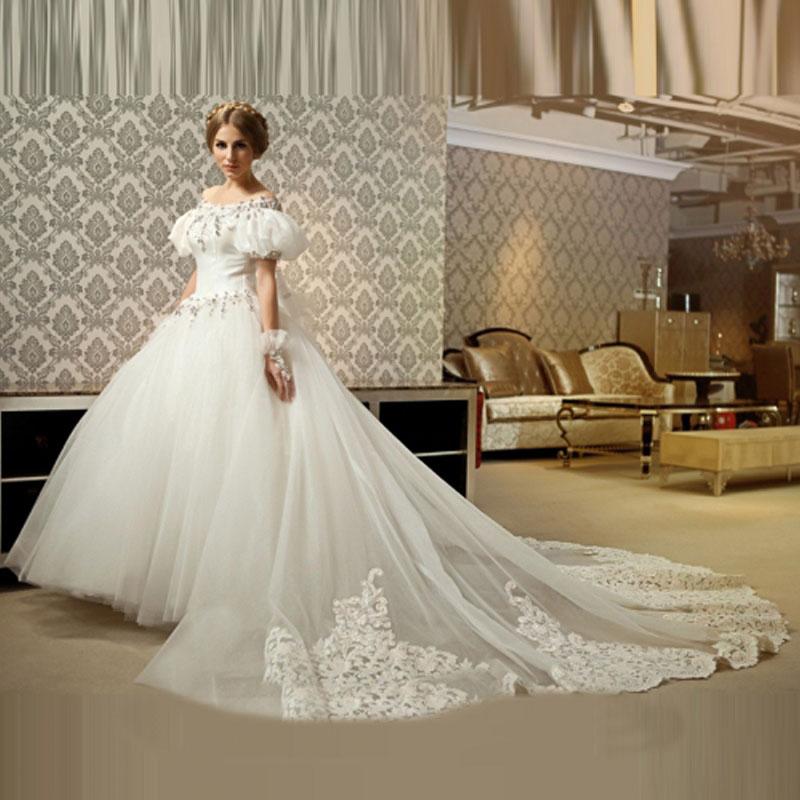 Princess Wedding Dress Big : Luxury shiny princess ball gown boat neck wedding dress