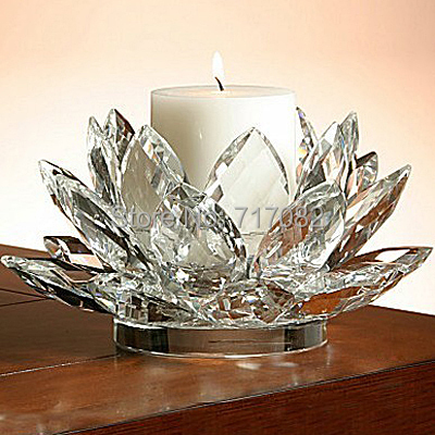 Free shipping 130mm 5.1inch top grade wedding crystal lotus candle holder(China (Mainland))