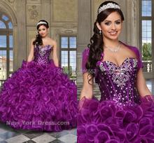 2015 новый сексуальный бисероплетение Jaket фиолетовый Quinceanera платья бальные платья для 15 лет ну вечеринку платья Vestido де 15 Anos в наличии QA511