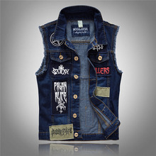 New Casual Men's Denim Vest Male Slim Fit Sleeveless Jackets Men Jeans Waistcoat Hole Washed Cowboy Beggar Brand Clothing LA036
