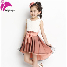 Girl Dress 2016 New Fashion Patchwork Mermaid Sleeveless Lace Kids Dresses For 4-15Y Children Girls Summer Clothes