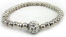 Free Shipping Fashion shiny alloy beads with 10mm clay shamballa disco ball charm Vintage women metal Bracelet(China (Mainland))