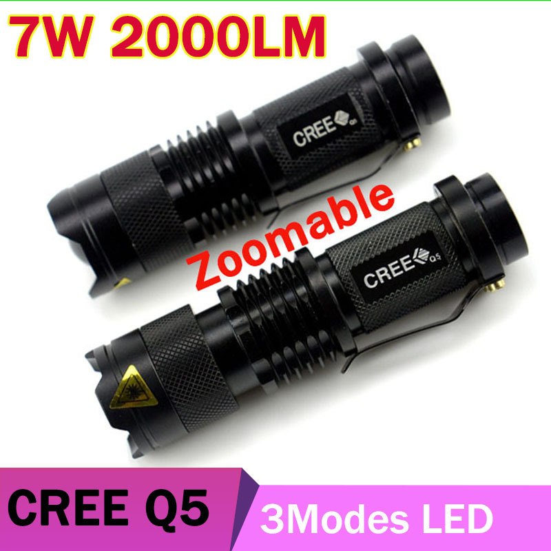 CREE q5 led flashlight 7W high power mini zoomable 3 modes waterproof glare torch 14500 /AA bicycle(China (Mainland))