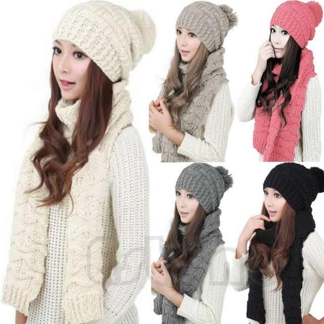 Зима Женщины Теплее Сгущает Шарф Wrap Hat Трикотажные Вязания Девушки Ошейники Тюбетейки
