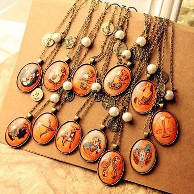 Min. order 12 pieces mix available,Retro 12 constellation necklace,4019--1.3037A. FreE ShiPPinG