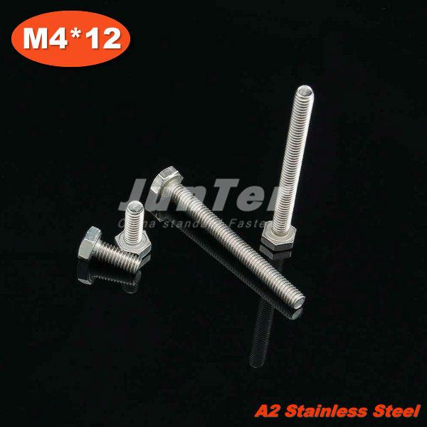 100pcs/lot DIN933 M4*12 Stainless Steel A2 Hex Head Set Screw<br><br>Aliexpress