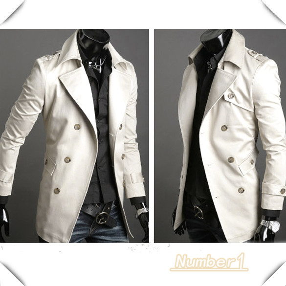 Arrival Autumn Winter 2015 Men's Stylish Casual Double Breasted Long Trench Coat Jacket Windbreak Plus Size 2 Color C3386CR(China (Mainland))