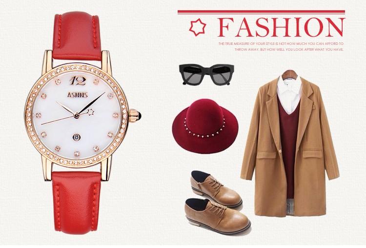 2016 новое прибытие ASNNS Французский бренд моды женской формы diamondquartz часы натуральная кожа наручные часы