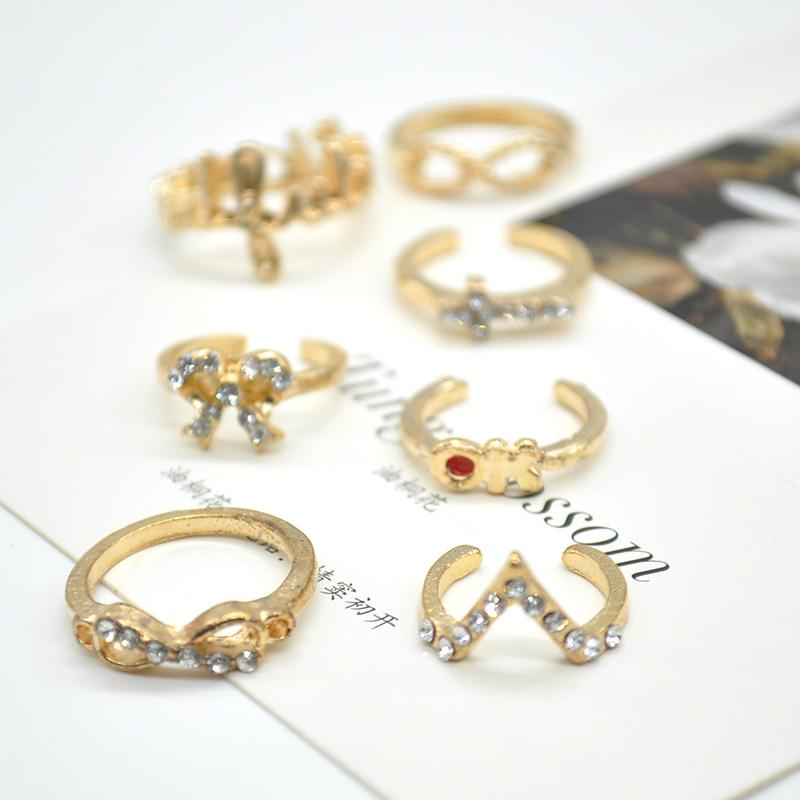 2015 gold punk ring set jewelry rhinestone Bow Crown set ...