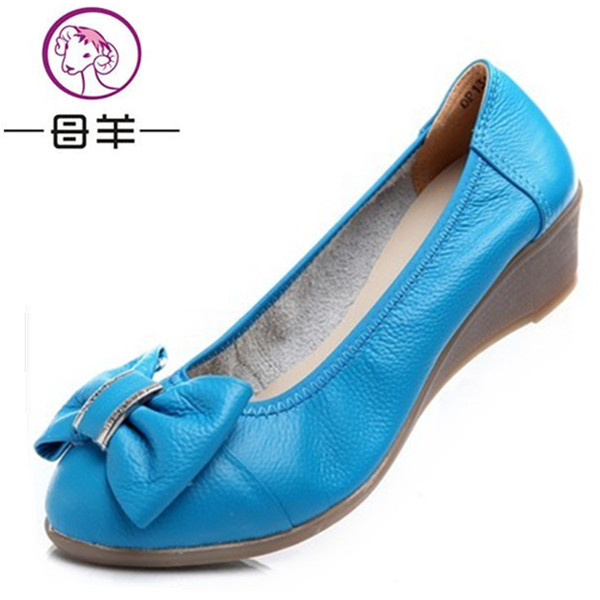 Newest fashion 2014 women flats round toe comfortable cow muscle outsole genuine leather single flat shoes female shoes(China (Mainland))