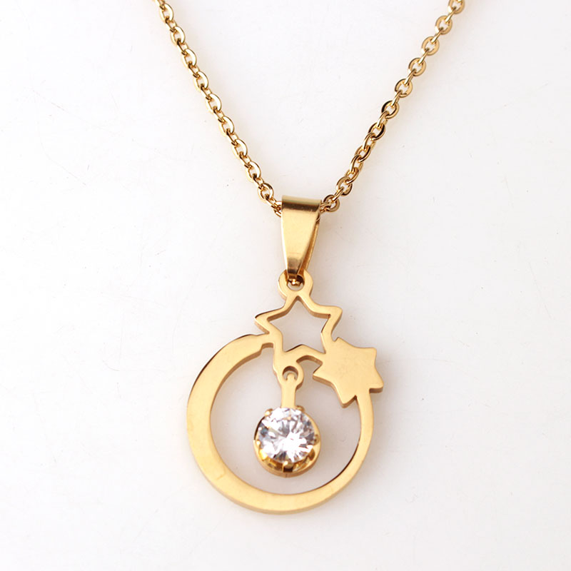 New Design Product Stainless Steel Gold Star Necklace With CZ Two Five Point Stars Pendant Necklace For Fashion Women(China (Mainland))