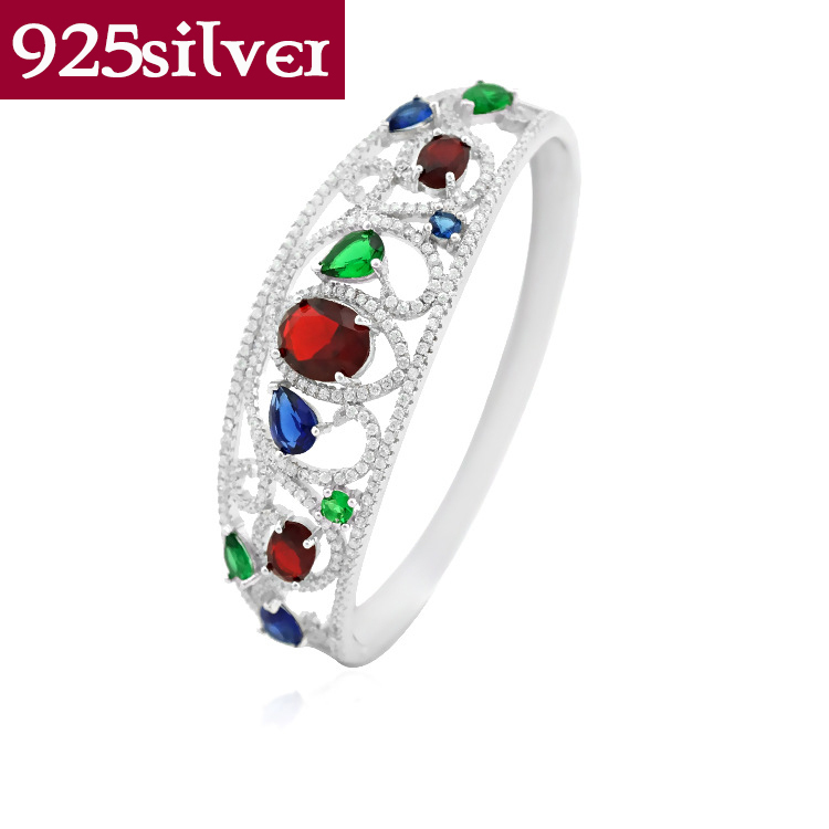 Colorful Austrian Crystal Bracelets Bangles Genuine 925 Sterling Silver Jewelry Shiny Cubic Zirconia Bangles High Quality ZB017<br><br>Aliexpress