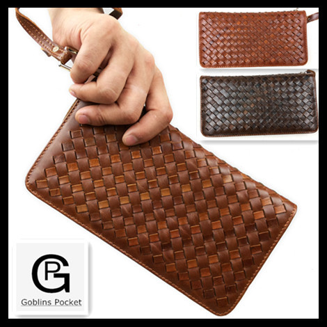 Mens weaving wallets Vintage designer With Oil Wax Leather multi-function male Purse,100% TOP cow genuine luxury leather Handbag<br>