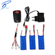 Battery Charging Set 3Pcs 7.4V 2000mAh Lipo Battery + Balance Charger with Power Adapter / Cable for Syma X8C X8W X8G Quadcopter(China (Mainland))