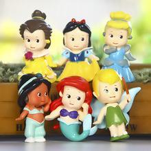 6PCS/Set 6cm Princess Action Cute Q Snow White Bella Cinderella Tinkerbell Jasmine Mermaid PVC Figure Toys Doll For Girl