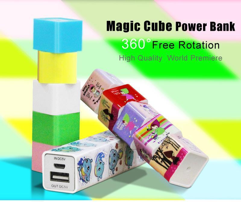 Original Rotate Magic Cube Power Bank 2600mAh Genuine capacity, 360 degree free rotation Magic Cube Backup Mobile Power Charger(China (Mainland))