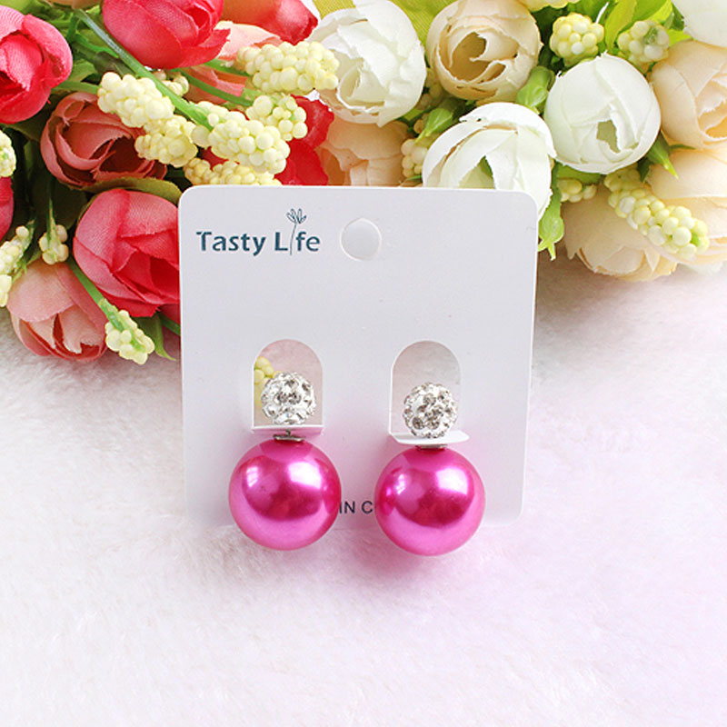 Top Quality Best sell New Fashion 18k gold plated Big Pearl trendy Stud Earrings for women Paragraph Double Side Free shipping(China (Mainland))