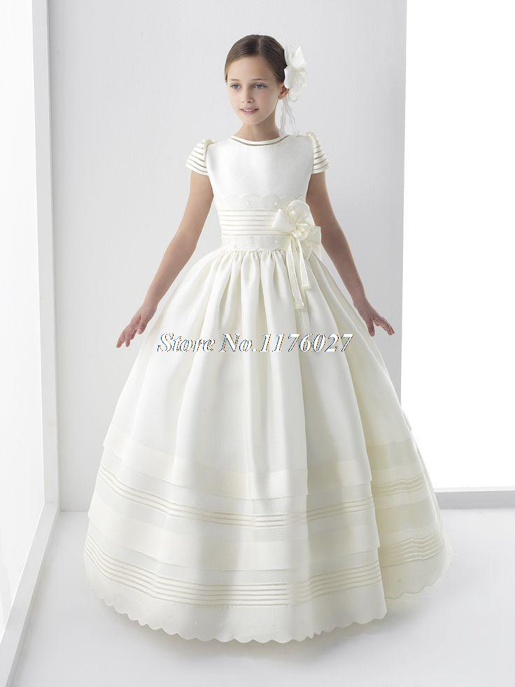 New Arrival 2015 Cap Sleeve Bow Lace First Communion Dress For Girls Custom Made Cute Flower
