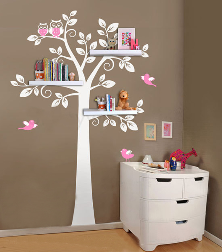 Wall shelf tree nursery wall decals decorative wall for Childrens bedroom wall designs