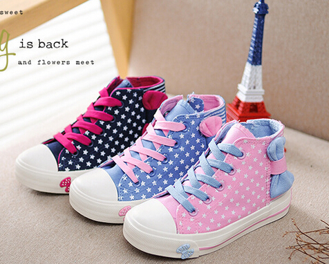 2015 new arrival brand name high top kids canvas sneakers