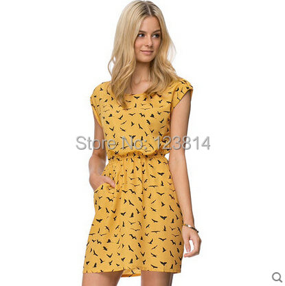 Fashion Casual Mini Dresses Women Chiffon Dress Short Sleeve Pleated O-Neck Pocket Gull Pattern Vintage Vestidos De Fiesta D880 - La Belle Boutique store