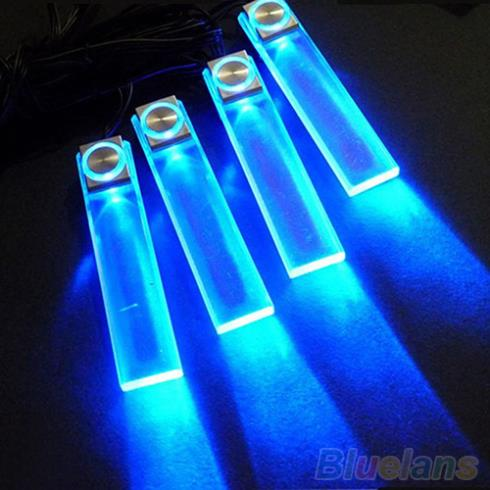 4 In 1 12V Blue Car Decorative Atmosphere Lamp Charge LED Interior Floor Decoration Lights 1U6S