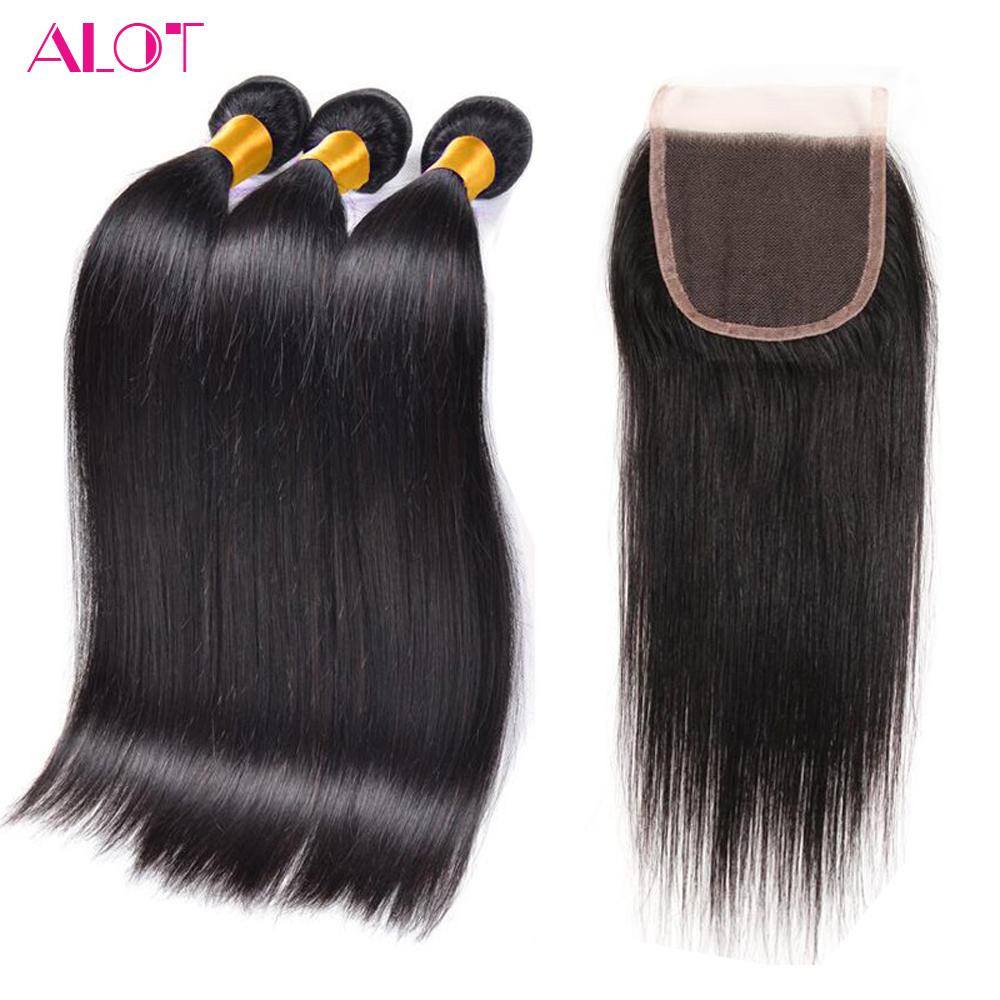 Indian Virgin Hair Straight 3 Pcs Hair Weft With 1 Closure (4*4) 100% Real Raw Indian Human Hair Weft With Lace Closure Straight(China (Mainland))