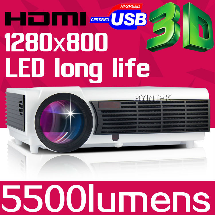 High Definition 1280x800 Video LCD LED HD Proyector Game Projector 3D 1080P For Home Theater Office Training(China (Mainland))