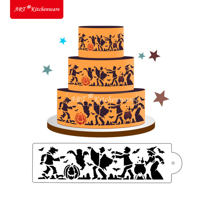 Halloween Cake Decorating Templates : Aliexpress.com : Buy Halloween Monster Cake Side Stencil ...