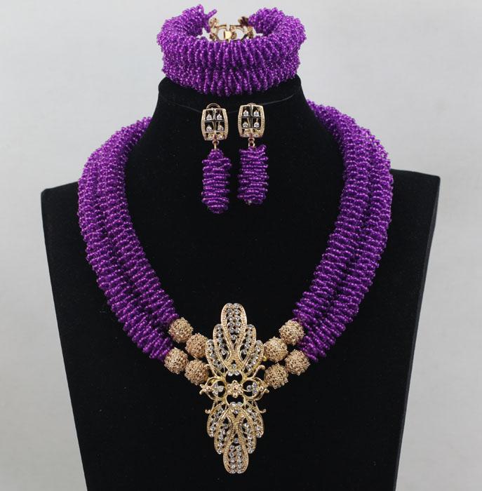 Latest Fashion Purple Seed Bead Women Necklace Set Chunky Bold Statement Wedding Events Jewelry Gold Plated Free Shipping WD208(China (Mainland))