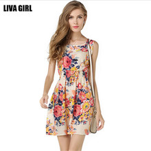 Summer Style Women Dress Casual Mini O-Neck Sleeveless Short A Line Dress Printed Party Evening 2015 Plus Size Elegant Dress(China (Mainland))