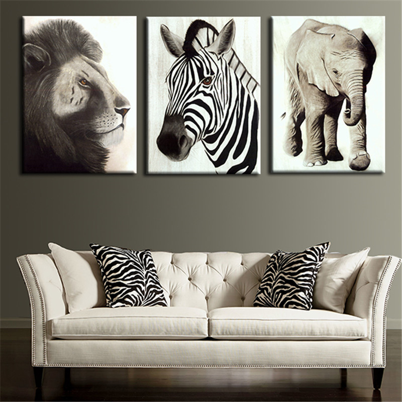3pcs wall painting art picture lion elephant and zebra animal home decoration prints on canvas for