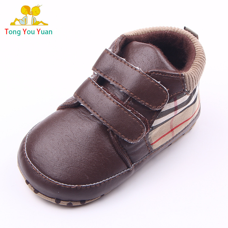 Free shipping 2016 baby girls and boys toddler shoes first walkers Pu Solid Winter Brand PU Leather soft bottom anti-slip14(China (Mainland))