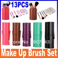 New Pro 13 Pcs Makeup Brushes in Round Pink 13 pcs Make Up Brush Set Cosmetic Brushes Kit High Quality Leather Case 4 Colors