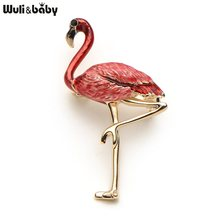 New Design Alloy Red Blue Enamel Flamingo Bird Brooches Women Men's Metal Animal Brooch Pins Banquet Broche Gift Scarf Buckle(China)