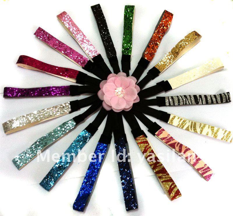 "3/4"" Sport Glitter Headband, fashion lady women headband, hair band, 21colors in stock, 492pcs/lot, free shipping by ems(China (Mainland))"