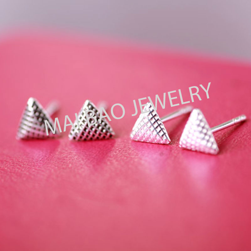 2016 New jewelry fashion Silver triangle element stud earrings For Women ,Best Gifts For Girlfriend(China (Mainland))